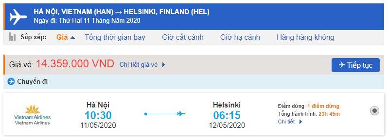 Giá vé máy bay Vietnam Airlines đi Phần Lan