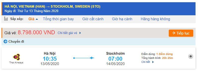 Vé máy bay đi Thụy Điển từ Hà Nội