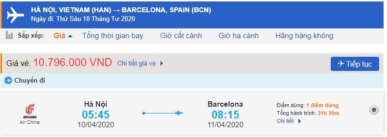 Vé máy bay Hà Nội Barcelona