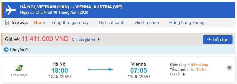 Vé máy bay đi Vienna Eva Air