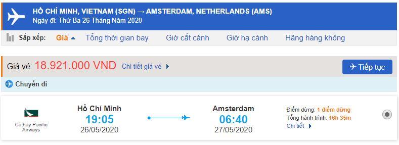 Giá vé máy bay từ TPHCM đi Hà Lan