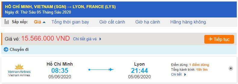 Vé máy bay đi Lyon từ Hồ Chí Minh