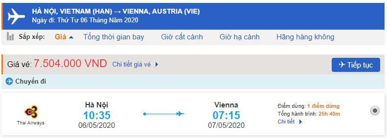 Giá vé máy bay từ Hà Nội đi Áo