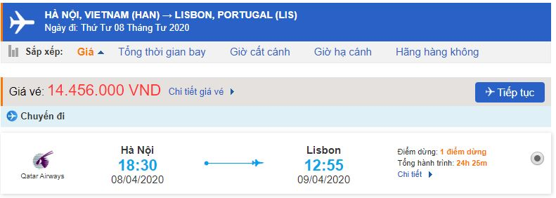 Giá vé máy bay từ Hà Nội đi Bồ Đào Nha