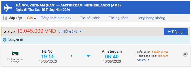 Vé máy bay Cathay đi Hà Lan
