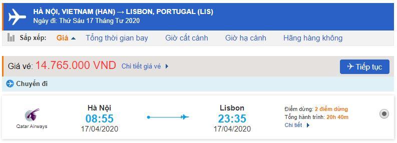 Vé máy bay từ Hà Nội đi Lisbon