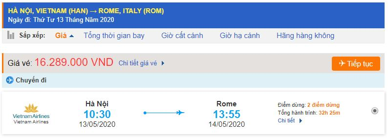Giá vé máy bay Hà Nội Italia Rome