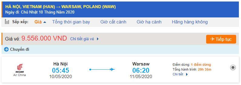 Giá vé máy bay đi Warsaw Ba Lan