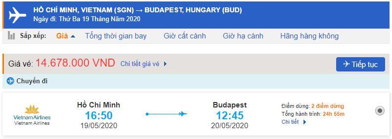 Vé máy bay từ TPHCM đi Budapest