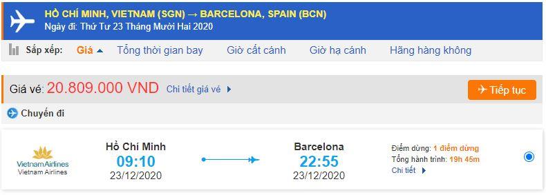 Vé máy bay đi Barcelona từ Sài Gòn