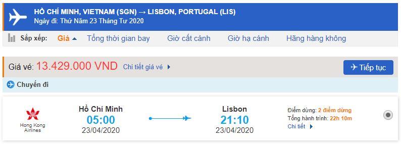 Giá vé máy bay từ TPHCM đi Lisbon