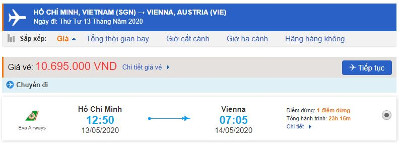 Vé máy bay từ TPHCM đi Vienna