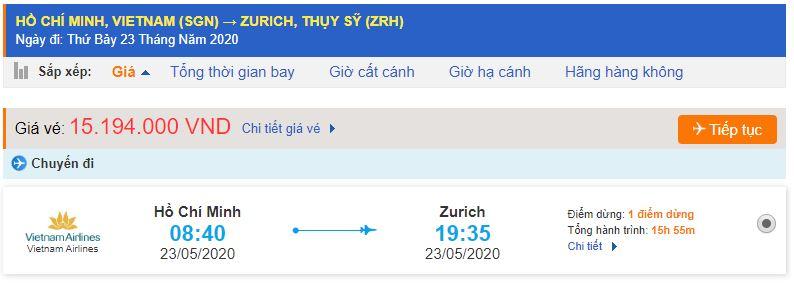 Vé máy bay từ TPHCM đi Zurich