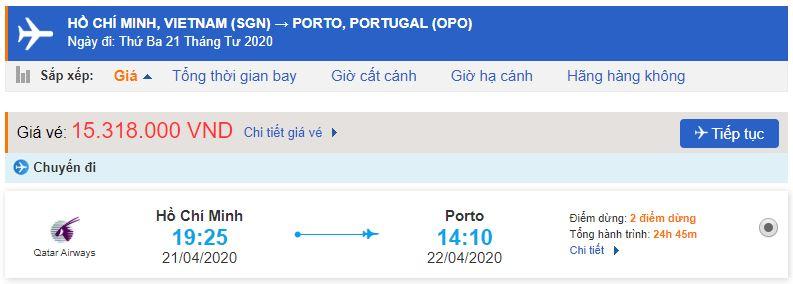 Vé máy bay từ Hồ Chí Minh đi Porto