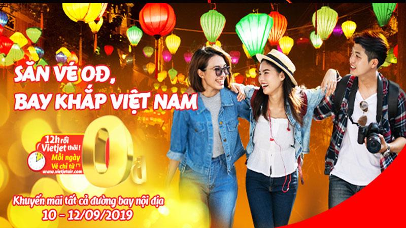 Cả tháng 9 săn vé 0 đồng khuyến mãi khủng của Vietjet Air