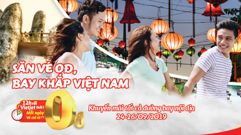 1.300.000 vé khuyến mãi 0 đồng cùng Vietjet bay khắp Việt Nam