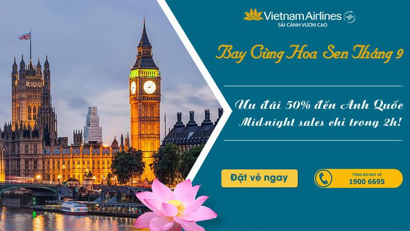 2 giờ vàng khuyến mãi giảm 50% đi London từ Vietnam Airlines
