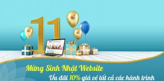 Kỷ niệm 11 năm sinh nhật websie Vietnam Airlines giảm 10% giá vé máy bay