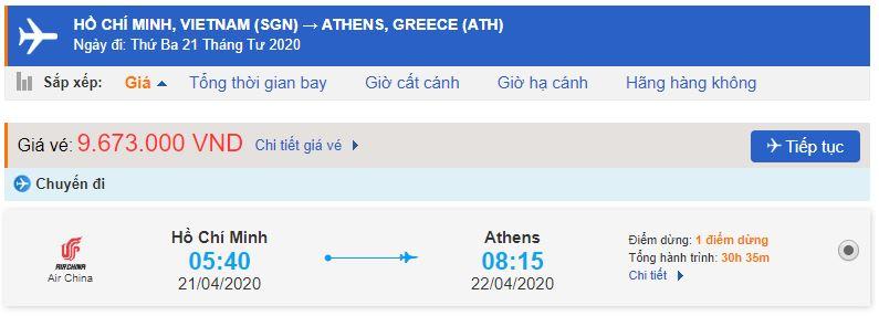 Vé máy bay đi Athens Hy Lạp từ Hồ Chí Minh