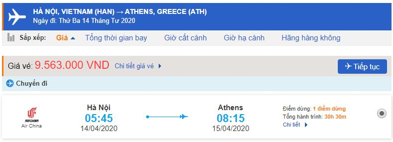 Vé máy bay Hà Nội Hy Lạp