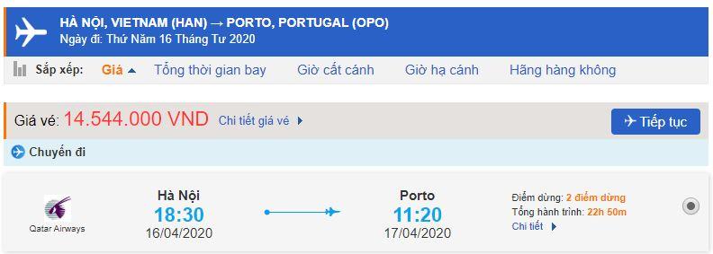 Giá vé máy bay từ Hà Nội đi Porto