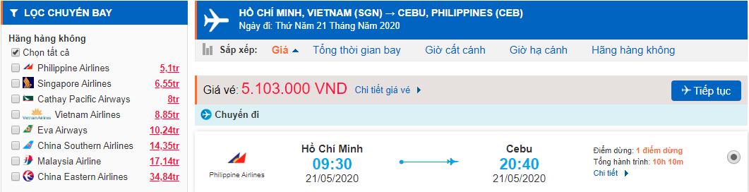 Vé máy bay đi Cebu từ Hà Nội