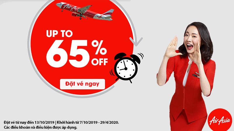 Air Asia khuyến mãi giảm đến 65% giá vé mọi điểm đến