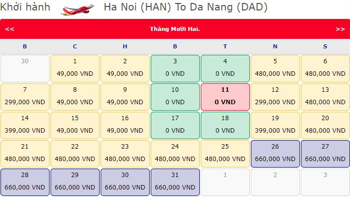 Vé máy bay khuyến mãi Hà Nội đi Đà Nẵng