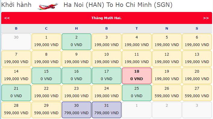 Vé máy bay khuyến mãi Hà Nội đi Hồ Chí Minh