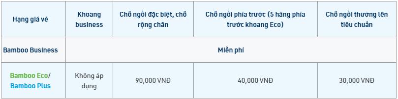 Chi phí phụ thu chọn chỗ ngồi Bamboo Airways