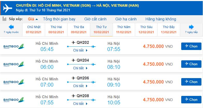 Vé máy bay Tết 2021 Bamboo Airways