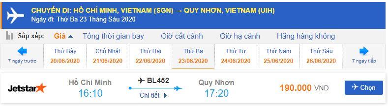 Giá vé máy bay Sài Gòn Quy Nhơn Jetstar Pacific