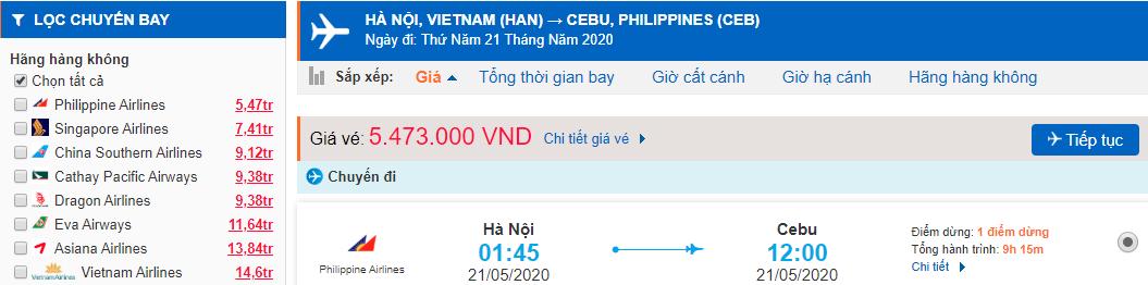 Vé máy bay đi Cebu từ Hồ Chí Minh