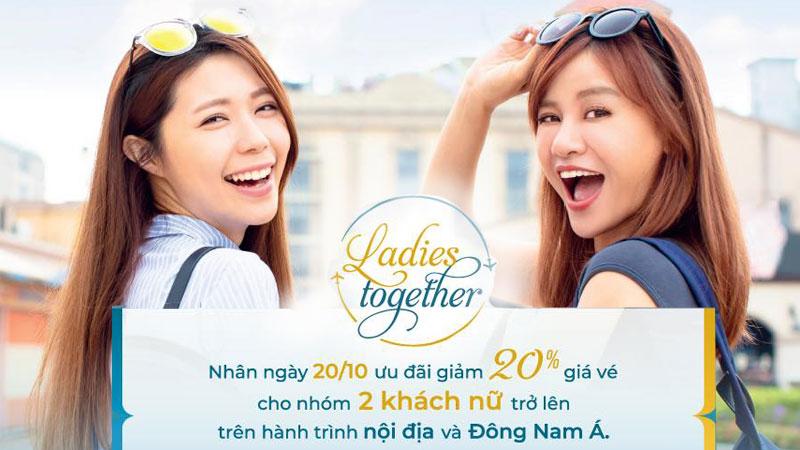 Nhân ngày 20/10 Vietnam Airlines khuyến mãi giảm 20% giá vé