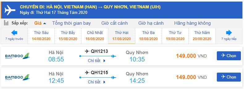 Giá vé máy bay đi Quy Nhơn Bamboo Airways từ Hà Nội