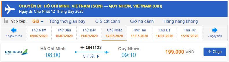 Giá vé máy bay Hồ Chí Minh đi Quy Nhơn Bamboo Airways