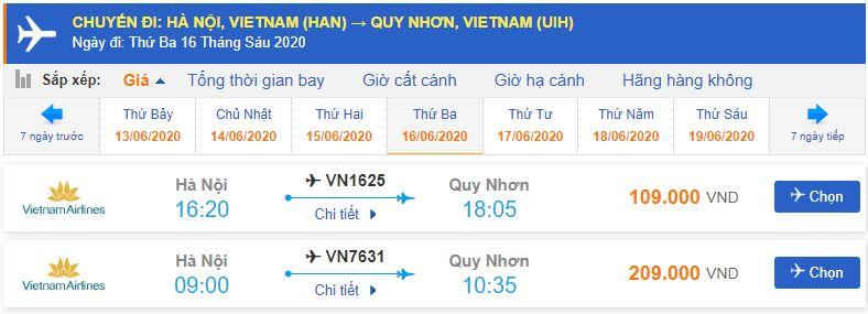 Vé máy bay đi Quy Nhơn Vietnam Airlines