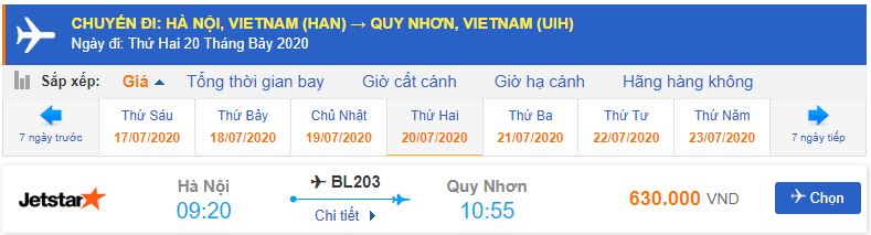 Vé máy bay Hà Nội đi Quy Nhơn Jetstar Pacific