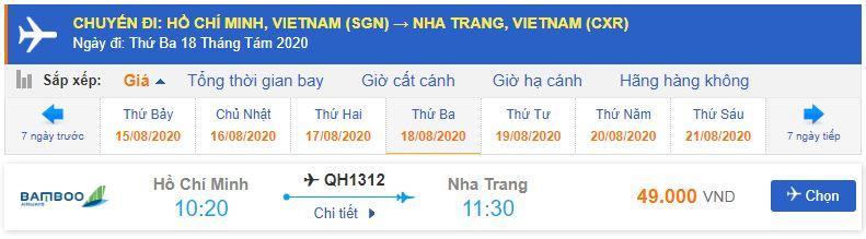 Giá vé máy bay bamboo từ TPHCM đi Nha Trang