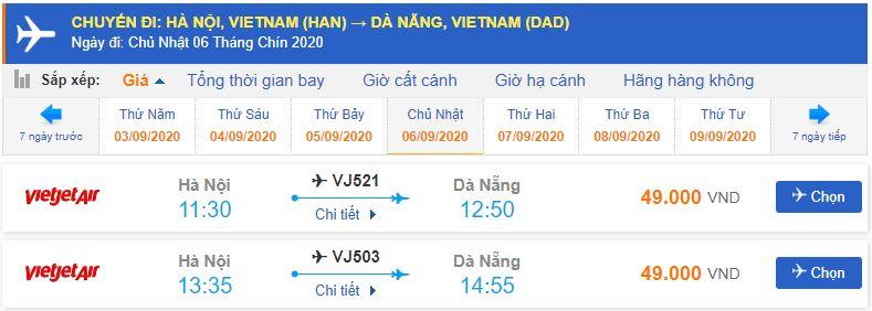 Giá vé máy bay Hà Nội Đà NẵngVietjet