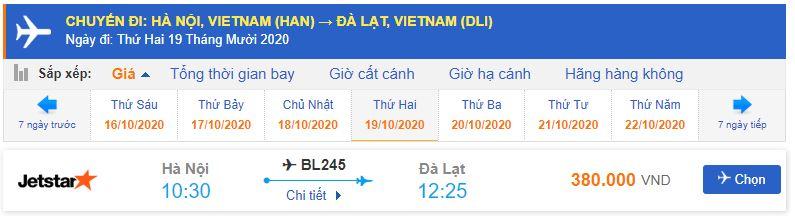 vé máy bay Đà Lạt của Jetstar Pacific từ Hà Nội