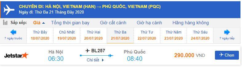 Vé máy bay đi Phú Quốc Jetstar Pacific