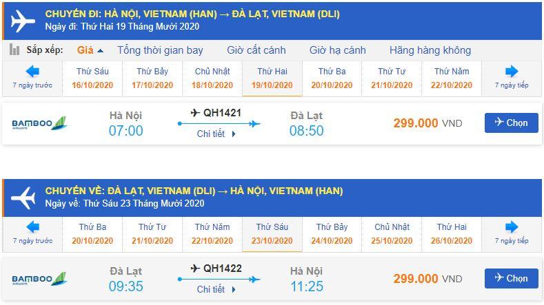 Giá vé máy bay Hà Nội Lâm ĐồngBamboo Airways Khứ hồi