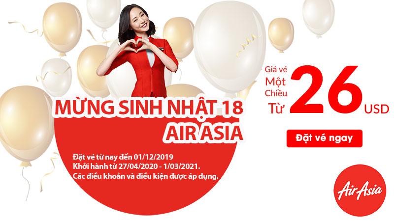 Mừng sinh nhật Air Asia khuyến mãi vé máy bay chỉ 618.000 VND