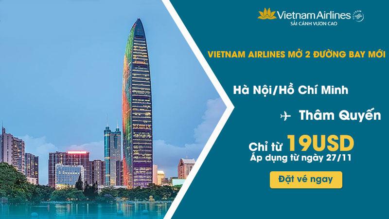 Vietnam Airlines khuyến mãi chỉ 19 USD đến Thâm Quyến