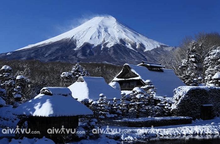 Cảnh đẹp trên núi Phú Sĩ phủ đầy tuyết