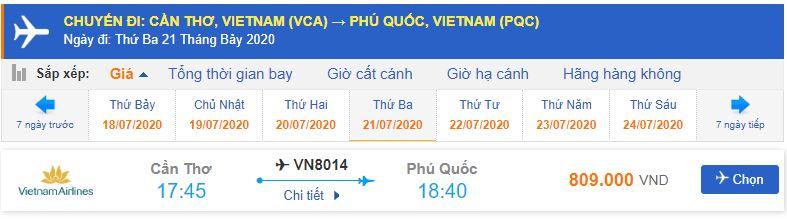 Vé máy bay Cần Thơ đi Phú Quốc Vietnam Airlines