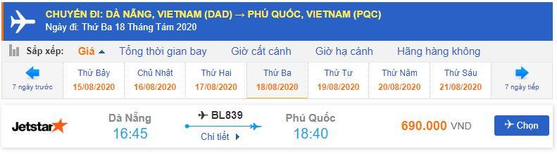 Vé máy bay Đà Nẵng Phú Quốc Jestar