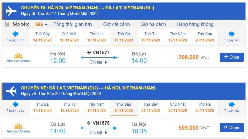 Vé máy bay đi Đà Lạt tháng 11 từ Hà Nội Vietnam Airlines