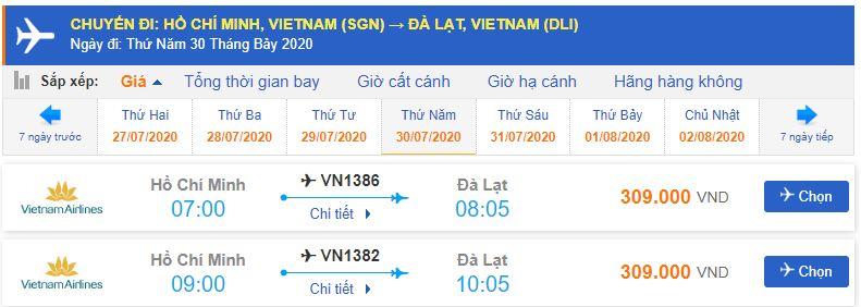 Vé máy bay đi Đà Lạt tháng 7 từ Hà Nội Vietnam Airlines